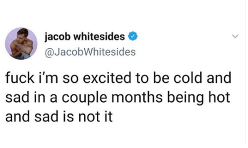 Memes, Fuck, and Cold: jacob whitesides  @JacobWhitesides  fuck i'm so excited to be cold and  sad in a couple months being hot  and sad is not it