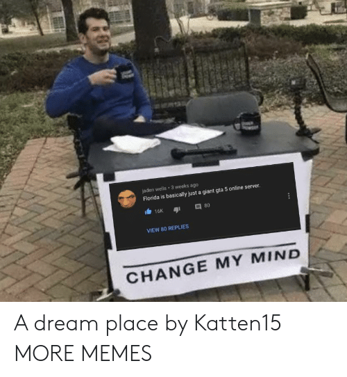 Change My: jaden wells 3 weeks ago  Florida is basically just a giant gta 5 online server.  16K  80  VIEW 80 REPLIES  CHANGE MY MIND A dream place by Katten15 MORE MEMES
