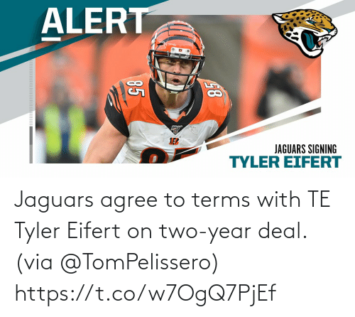 jaguars: Jaguars agree to terms with TE Tyler Eifert on two-year deal. (via @TomPelissero) https://t.co/w7OgQ7PjEf