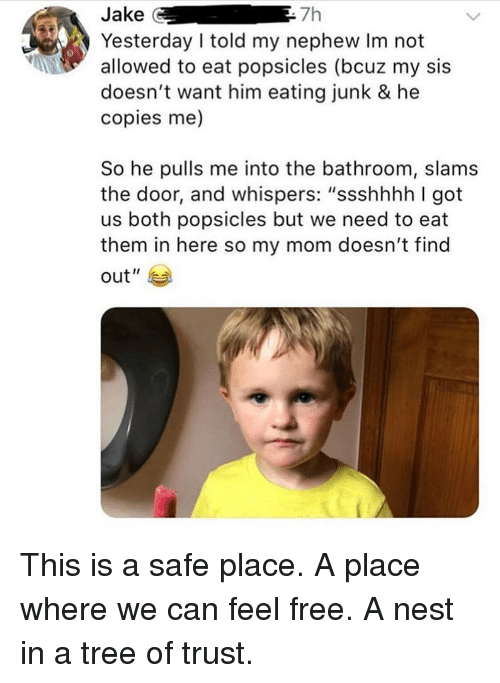 """Ironic, Free, and Nest: Jake G  Yesterday I told my nephew Im not  allowed to eat popsicles (bcuz my sis  doesn't want him eating junk & he  copies me)  7h  So he pulls me into the bathroom, slams  the door, and whispers: """"ssshhhh I got  us both popsicles but we need to eat  them in here so my mom doesn't find  out"""" This is a safe place. A place where we can feel free. A nest in a tree of trust."""