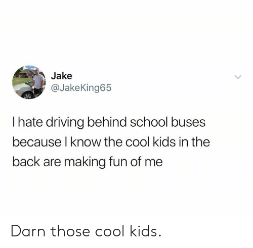 Dank, Driving, and School: Jake  @JakeKing65  I hate driving behind school buses  because l know the cool kids in the  back are making fun of me Darn those cool kids.