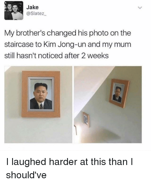 Dank, Kim Jong-Un, and 🤖: Jake  @Slatez  My brother's changed his photo on the  staircase to Kim Jong-un and my mum  still hasn't noticed after 2 weeks I laughed harder at this than I should've
