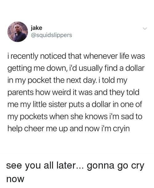 Life, Parents, and She Knows: jake  @squidslippers  i recently noticed that whenever life was  getting me down, i'd usually find a dollar  in my pocket the next day. i told my  parents how weird it was and they told  me my little sister puts a dollar in one of  my pockets when she knows i'm sad to  help cheer me up and now i'm cryin see you all later... gonna go cry now