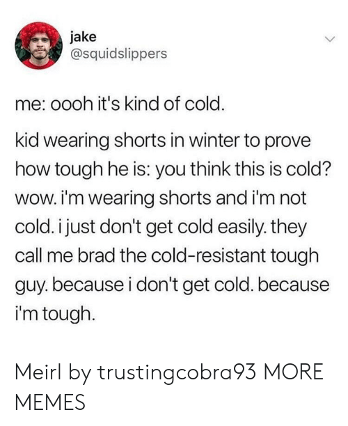 They Call Me: jake  @squidslippers  me: oooh it's kind of cold.  kid wearing shorts in winter to prove  how tough he is: you think this is cold?  wow. i'm wearing shorts and i'm not  cold. i just don't get cold easily. they  call me brad the cold-resistant tough  guy.because i don't get cold. because  i'm tough. Meirl by trustingcobra93 MORE MEMES