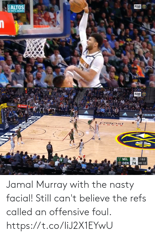 Cant: Jamal Murray with the nasty facial! Still can't believe the refs called an offensive foul. https://t.co/IiJ2X1EYwU
