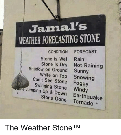 Forecast: Jamal's  WEATHER FORECASTING STONE  CONDITION FORECAST  Stone is Wet Rairn  Stone is Dry Not Raining  Sunny  Snowing  Shadow on Ground  White on Top  Can't See Stone Foggy  Swinging Stone Windy  Jumping Up & Down  Earthquake  Stone Gone Tornado The Weather Stone™