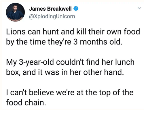 Dank, Food, and Lions: James Breakwell  @XplodingUnicorn  Lions can hunt and kill their own food  by the time theyre 3 months old.  My 3-year-old couldn't find her lunch  box, and it was in her other hand.  I can't believe we're at the top of the  food chain.