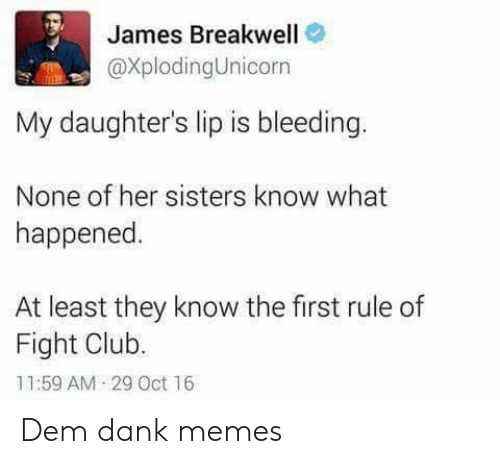 Fight Club: James Breakwell  @XplodingUnicorn  My daughter's lip is bleeding.  None of her sisters know what  happened  At least they know the first rule of  Fight Club.  11:59 AM 29 Oct 16 Dem dank memes