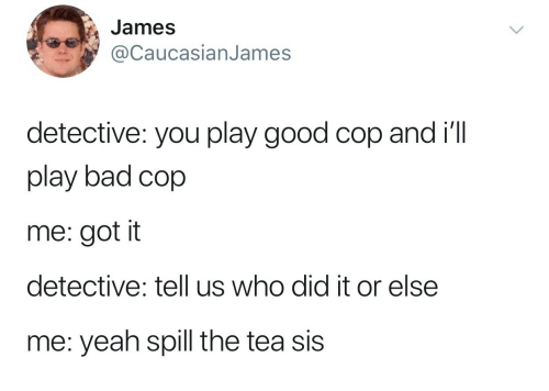 Bad, Yeah, and Good: James  @CaucasianJames  detective: you play good cop and i'll  play bad cop  me: got it  detective: tell us who did it or else  me: yeah spill the tea sis