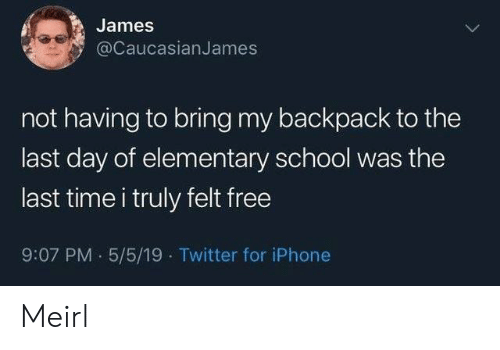 Elementary: James  @CaucasianJames  not having to bring my backpack to the  last day of elementary school was the  last time i truly felt free  9:07 PM 5/5/19 Twitter for iPhone Meirl