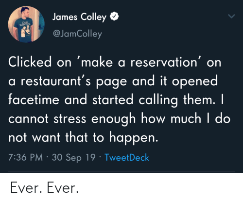 Facetime, Restaurants, and How: James Colley  CRUL  INTS  @JamColley  Clicked on 'make a reservation' on  a restaurant's page and it opened  facetime and started calling them. I  cannot stress enough how much I do  not want that to happen.  7:36 PM · 30 Sep 19 · TweetDeck Ever. Ever.