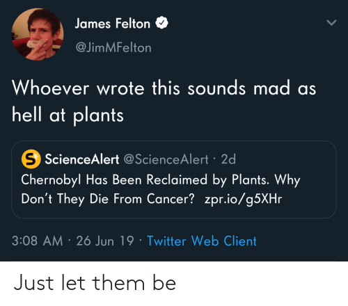 chernobyl: James Felton  @JimMFelton  Whoever wrote this sounds mad as  hell at plants  S ScienceAlert @ScienceAlert 2d  Chernobyl Has Been Reclaimed by Plants. Why  Don't They Die From Cancer? zpr.io/g5XHr  3:08 AM 26 Jun 19 Twitter Web Client Just let them be