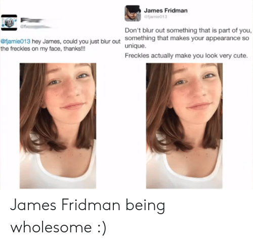 freckles: James Fridman  Don't blur out something that is part of you,  something that makes your appearance so  unique.  Freckles actually make you look very cute.  fjamie013 hey James, could you just blur out  the freckles on my face, thanks!!! James Fridman being wholesome :)