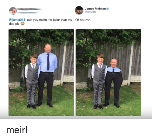 Dad, MeIRL, and Can: James Fridman  @fjamie013  @fjamie013 can you make me taller than my Of course.  dad plz meirl