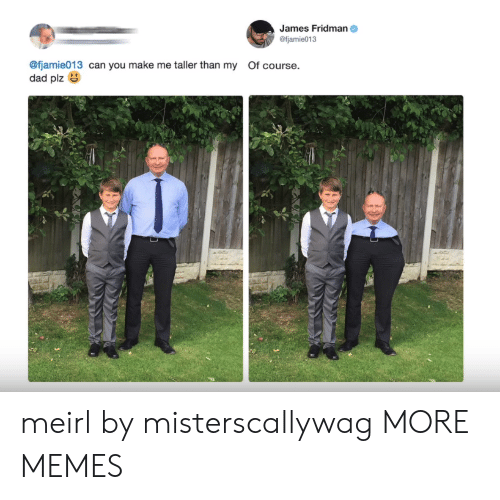 Dad, Dank, and Memes: James Fridman  @fjamie013  @fjamie013 can you make me taller than my Of course.  dad plz meirl by misterscallywag MORE MEMES