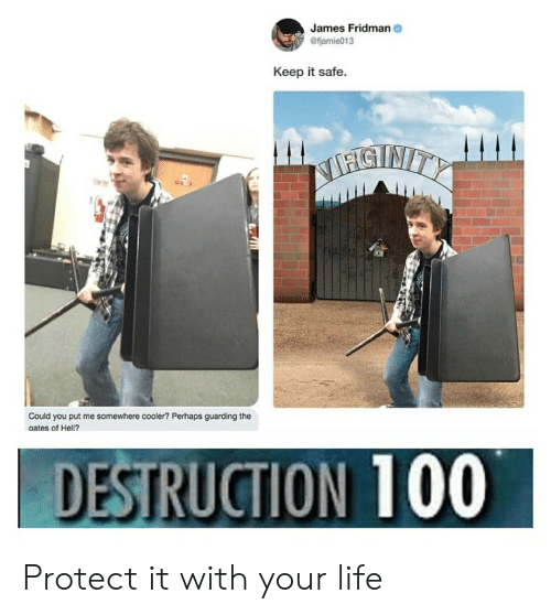 Life, Reddit, and Hell: James Fridman  @fjamie013  Keep it safe.  NTNITY  Could you put me somewhere cooler? Perhaps guarding the  gates of Hell?  DESTRUCTION 100 Protect it with your life
