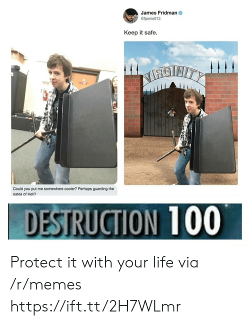 Life, Memes, and Hell: James Fridman  @fjamie013  Keep it safe  STNITY  Could you put me somewhere cooler? Perhaps guarding the  aates of Hell?.  DESTRUCTION 100 Protect it with your life via /r/memes https://ift.tt/2H7WLmr