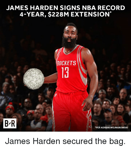Adrianisms: JAMES HARDEN SIGNS NBA RECORD  4-YEAR, $228M EXTENSION  ROCKETS  13  t.  B R  PER ADRIAN WOJNAROWSKI James Harden secured the bag.