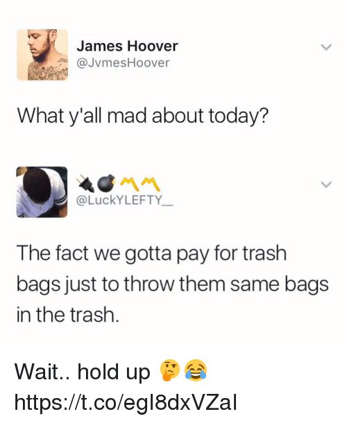 Trash, Today, and Mad: James Hoover  JvmesHoover  What y'all mad about today?  @LuckYLEFTY  The fact we gotta pay for trash  bags just to throw them same bags  in the trash Wait.. hold up 🤔😂 https://t.co/egI8dxVZaI