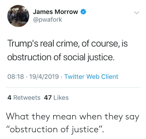 """Crime, Twitter, and Justice: James Morrow  @pwafork  Trump's real crime, of course, is  obstruction of social justice.  08:18 19/4/2019 Twitter Web Client  4 Retweets 47 Likes What they mean when they say """"obstruction of justice""""."""
