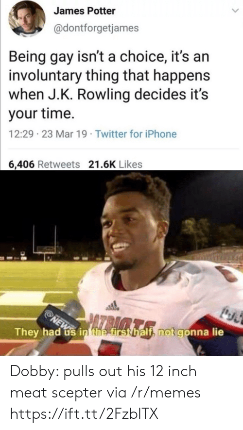 being gay: James Potter  @dontforgetjames  Being gay isn't a choice, it's an  involuntary thing that happens  when J.K. Rowling decides it's  your time.  12:29 23 Mar 19 Twitter for iPhone  6,406 Retweets 21.6K Likes  They had us in the first half, not gonna lie  NEW Dobby: pulls out his 12 inch meat scepter via /r/memes https://ift.tt/2FzblTX