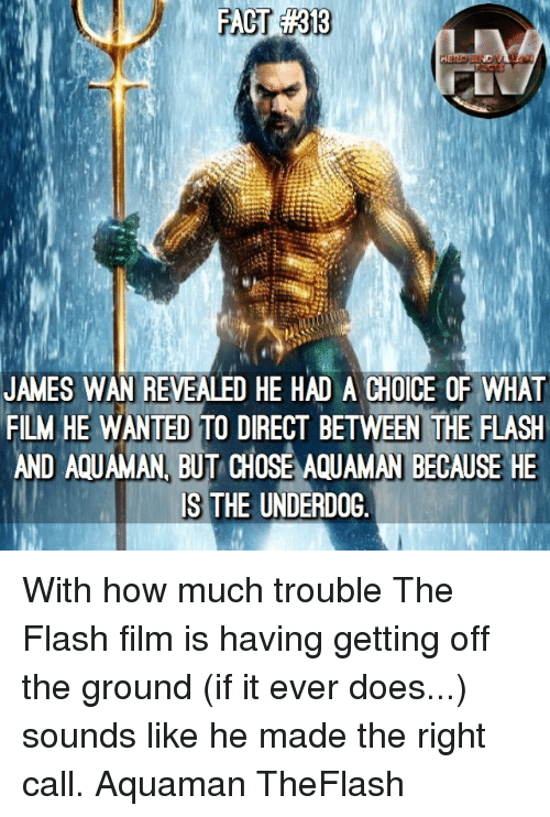 The Flash: JAMES WAN REVEALED HE HAD A CHOICE OF WHAT  FILM HE WANTED TO DIRECT BETWEEN THE FLASEH  AND AQUAMAN, BUT CHOSE AQUAMAN BECAUSE HE  IS THE UNDERDOG With how much trouble The Flash film is having getting off the ground (if it ever does...) sounds like he made the right call. Aquaman TheFlash