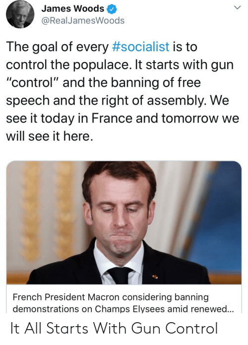 """Control, France, and Free: James Woods  @RealJamesWoods  The goal of every #socialist is to  control the populace. It starts with gurn  """"control"""" and the banning of free  speech and the right of assembly. We  see it today in France and tomorrow we  will see it here.  French President Macron considering banning  demonstrations on Champs Elysees amid renewed... It All Starts With Gun Control"""