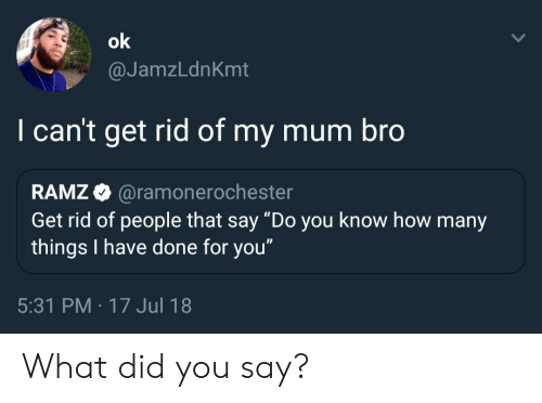 """How, Did, and You: @JamzLdnKmt  I can't get rid of my mum bro  RAMZ @ramonero  Get rid of people that say """"Do you know how many  things I have done for you""""  chester  5:31 PM -17 Jul 18 What did you say?"""