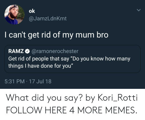 """Dank, Memes, and Target: @JamzLdnKmt  I can't get rid of my mum bro  RAMZ @ramonero  Get rid of people that say """"Do you know how many  things I have done for you""""  chester  5:31 PM -17 Jul 18 What did you say? by Kori_Rotti FOLLOW HERE 4 MORE MEMES."""