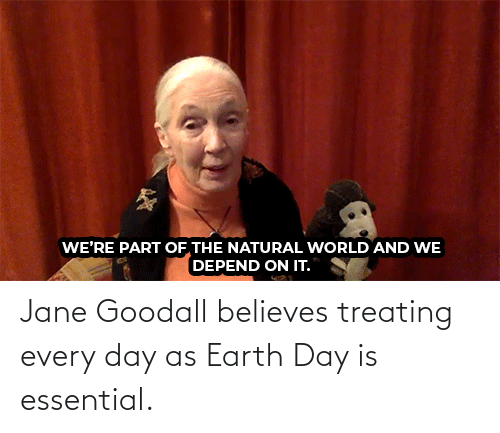Earth: Jane Goodall believes treating every day as Earth Day is essential.