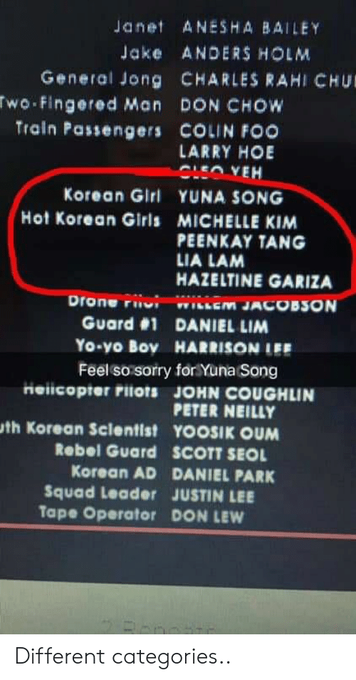Drone, Girls, and Hoe: Janet ANESHA BAILEY  Jake ANDERS HOLM  General Jong CHARLES RAHI CHU  wo Fingered Man DON CHOW  Train Passengers COLIN FOO  LARRY HOE  Korean Girl YUNA SONG  Hot Korean Girls MICHELLE KIM  PEENKAY TANG  LIA LAM  HAZELTINE GARIZA  Drone riiui wiiem JACOBSON  Guard #1 DANIEL LIM  Yo-yo Boy HARRISONIEE  Feel so sorry for Yuna Song  Heiicopter rilots JOHN COUGHLIN  PETER NEILLY  th Korean Sclentist YOOSIK OUM  Rebel Guard  SCOTT SEOL  Korean AD DANIEL PARK  Squad Leader JUSTIN LEE  Tape Operator DON LEW Different categories..