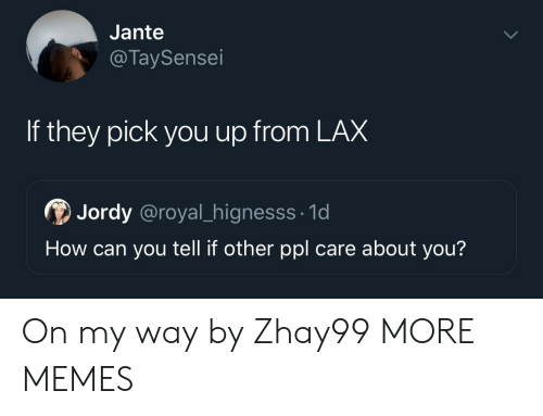 Dank, Memes, and Target: Jante  @TaySensei  If they pick you up from LAX  Jordy @royal_hignesss 1d  How can you tell if other ppl care about you? On my way by Zhay99 MORE MEMES