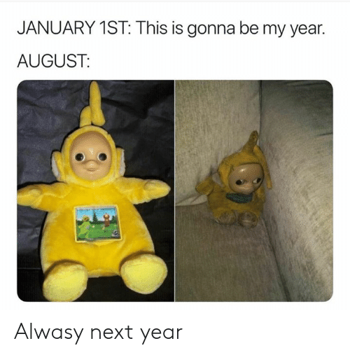 Dank, 🤖, and Next: JANUARY 1ST: This is gonna be my year.  AUGUST: Alwasy next year