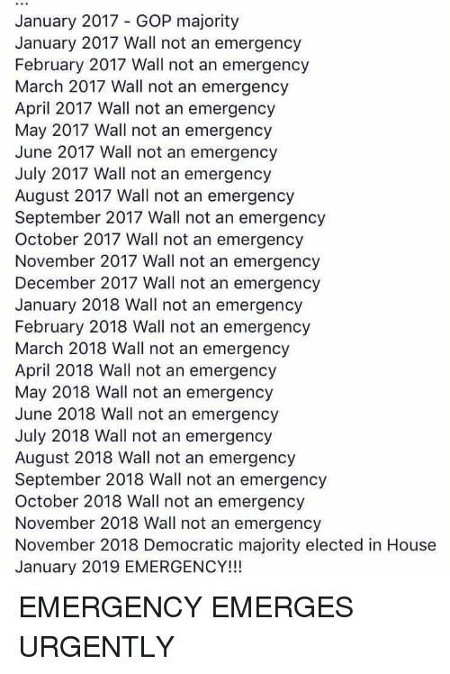 Politics, House, and April: January 2017 - GOP majority  January 2017 Wall not an emergency  February 2017 Wall not an emergency  March 2017 Wall not an emergency  April 2017 Wall not an emergency  May 2017 Wall not an emergency  June 2017 Wall not an emergency  July 2017 Wall not an emergency  August 2017 Wall not an emergency  September 2017 Wall not an emergency  October 2017 Wall not an emergency  November 2017 Wall not an emergency  December 2017 Wall not an emergency  January 2018 Wall not an emergency  February 2018 Wall not an emergency  March 2018 Wall not an emergency  April 2018 Wall not an emergency  May 2018 Wall not an emergency  June 2018 Wall not an emergency  July 2018 Wall not an emergency  August 2018 Wall not an emergency  September 2018 Wall not an emergency  October 2018 Wall not an emergency  November 2018 Wall not an emergency  November 2018 Democratic majority elected in House  January 2019 EMERGENCY!!!