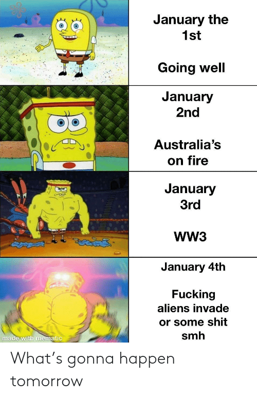 on fire: January the  1st  Going well  January  2nd  Australia's  on fire  January  3rd  WW3  తైతడద్  January 4th  Fucking  aliens invade  or some shit  smh  made with mematic What's gonna happen tomorrow