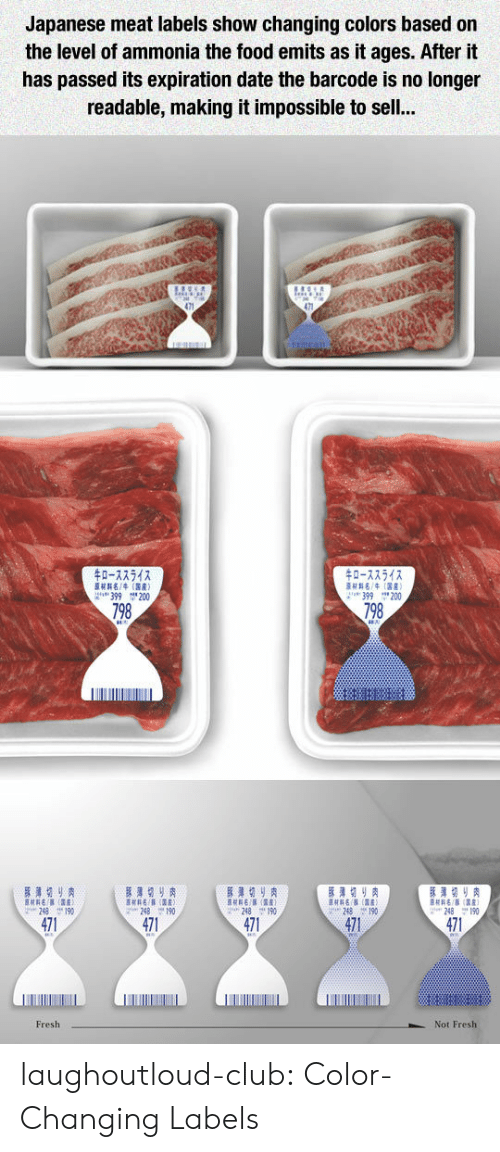 Labels: Japanese meat labels show changing colors based on  the level of ammonia the food emits as it ages. After it  has passed its expiration date the barcode is no longer  readable, making it impossible to sel..  0-72542  0-7754  H4(R)  399 200  399 200  798  798  471  471  471  471  471  Fresh  Not Fresh laughoutloud-club:  Color-Changing Labels