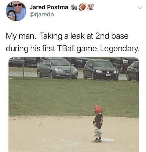 2nd base: Jared Postma 0  @rjaredp  My man. Taking a leak at 2nd base  during his first TBall game. Legendary.