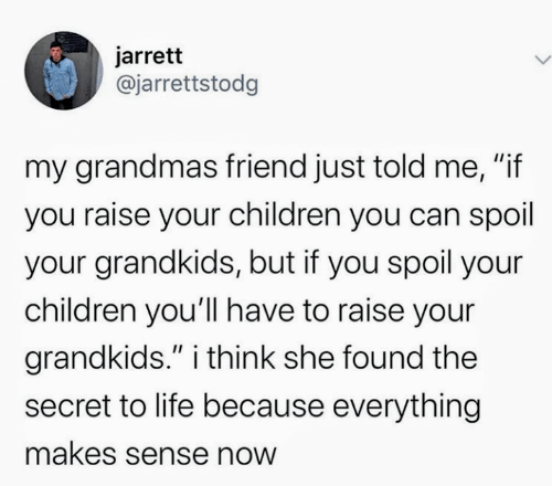 "Children, Life, and Secret: jarrett  @jarrettstodg  my grandmas friend just told me, ""if  you raise your children you can spoil  your grandkids, but if you spoil your  children you'll have to raise your  grandkids."" i think she found the  II  secret to life because everything  makes sense now"