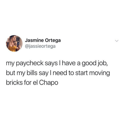 jasmine: Jasmine Ortega  @jassieortega  my paycheck says I have a good job  but my bills say I need to start moving  bricks for el Chapo