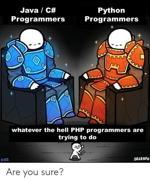 Java: Java / C#  Python  Programmers  Programmers  +  +  whatever the hell PHP programmers are  trying to do  SRGRAFO  Are you sure?