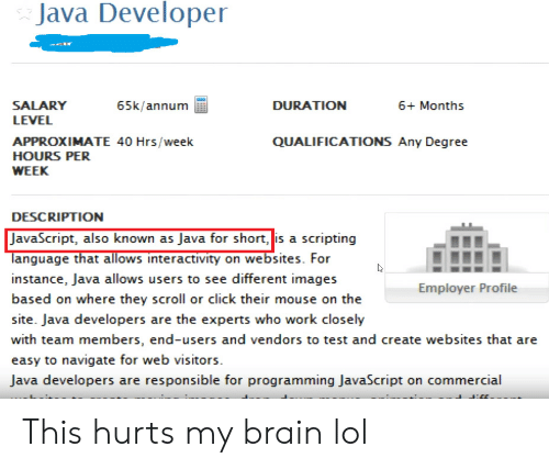 Java: Java Developer  SALARY  65k/annum  DURATION  6+ Months  LEVEL  QUALIFICATIONS Any Degree  APPROXIMATE 40 Hrs/week  HOURS PER  WEEK  DESCRIPTION  JavaScript, also known as Java for short, is a scripting  language that allows interactivity on websites. For  instance, Java allows users to see different images  Employer Profile  based on where they scroll or click their mouse on the  site. Java developers are the experts who work closely  with team members, end-users and vendors to test and create websites that are  easy to navigate for web visitors  Java developers are responsible for programming JavaScript on commercial This hurts my brain lol