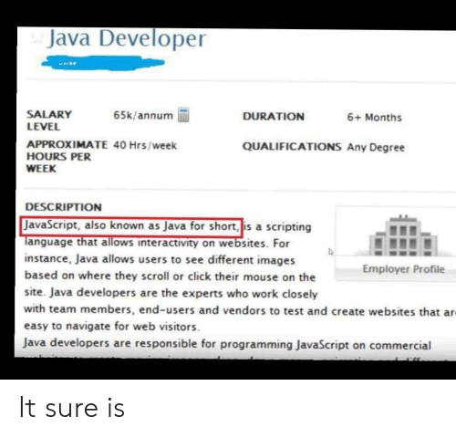 Java: Java Developer  SALARY  LEVEL  65k/annum  DURATION  6+ Months  APPROXIMATE 40 Hrs/week  HOURS PER  QUALIFICATIONS Any Degree  WEEK  DESCRIPTION  JavaScript, also known as Java for short, is a scripting  Tanguage that allows interactivity on websites. For  instance, Java allows users to see different images  based on where they scroll or click their mouse on the  Employer Profile  site. Java developers are the experts who work closely  with team members, end-users and vendors to test and create websites that ar  easy to navigate for web visitors  Java developers are responsible for programming JavaScript on commercial It sure is