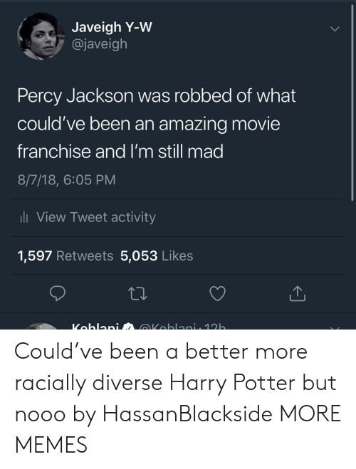 Dank, Harry Potter, and Memes: Javeigh Y-W  @javeigh  Percy Jackson was robbed of what  could've been an amazing movie  franchise and I'm still mad  8/7/18, 6:05 PM  li View Tweet activity  1,597 Retweets 5,053 Likes Could've been a better more racially diverse Harry Potter but nooo by HassanBlackside MORE MEMES