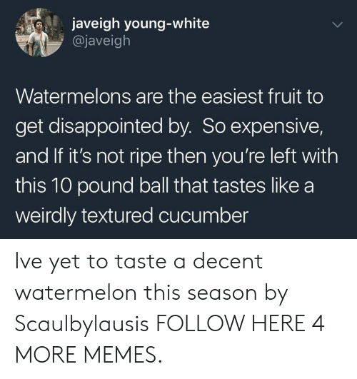 Taste A: javeigh young-white  @javeigh  Watermelons are the easiest fruit to  get disappointed by. So expensive,  and If it's not ripe then you're left with  this 10 pound ball that tastes like a  weirdly textured cucumber Ive yet to taste a decent watermelon this season by Scaulbylausis FOLLOW HERE 4 MORE MEMES.
