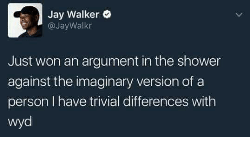 Jay, Shower, and Wyd: Jay Walker  @JayWalkr  Just won an argument in the shower  against the imaginary version of a  person I have trivial differences with  wyd