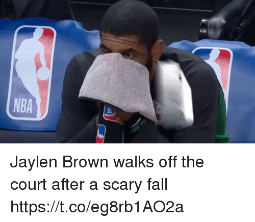 Fall, Memes, and 🤖: Jaylen Brown walks off the court after a scary fall https://t.co/eg8rb1AO2a