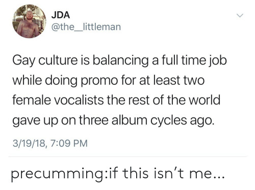 Gif, Tumblr, and Blog: JDA  @the_littlemarn  Gay culture is balancing a full time job  while doing promo for at least two  female vocalists the rest of the world  gave up on three album cycles ago.  3/19/18, 7:09 PM precumming:if this isn't me…