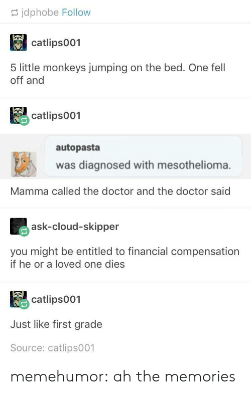 Doctor, Tumblr, and Blog: jdphobe Follow  catlips001  5 little monkeys jumping on the bed. One fel  off and  catlips001  autopasta  was diagnosed with mesothelioma.  Mamma called the doctor and the doctor said  ask-cloud-skipper  you might be entitled to financial compensation  if he or a loved one dies  catlips001  Just like first grade  Source: catlips001 memehumor:  ah the memories