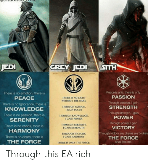 No Emotion: JED  GREY JEDI VİSTTH  Peace is a lie, there is only  PASSION  There is no emotion, there is  PEACE  There is no Ignorance, there is  KNOWLEDGE  There is no passion, there is  SERENITY  There is no chaos, there is  HARMONY  There is no death, there is  THE FORCE  THERE IS NO LIGHT  WITHOUT THE DARK  Through passion, I gain  STRENGTH  THROUGH PASSION,  IGAIN FOCUS  THROUGH KNOWLEDGE  I GAIN POWER  Through strength, I gan  POWER  TI亻ROUGH SERENITY.  I GAIN STRENGTH  Through power, I gain  VICTORY  Through victory, my chains are broken  THE FORCE  shall free me  THROUGH VICTORY  I GAIN HARMONY  THERE ES ONLY THE FORCE Through this EA rich