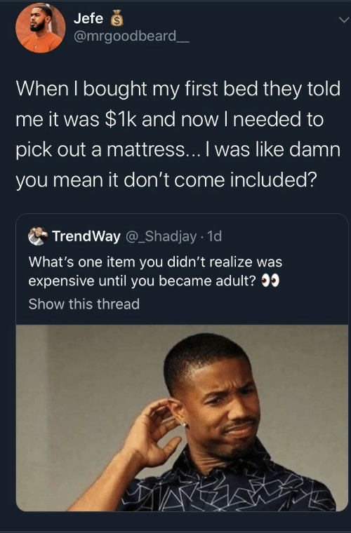 They Told Me: Jefe  @mrgoodbeard_  When I bought my first bed they told  me it was $1k and now I needed to  pick out a mattress... I was like damn  you mean it don't come included?  TrendWay @_Shadjay 1d  What's one item you didn't realize was  expensive until you became adult?  Show this thread